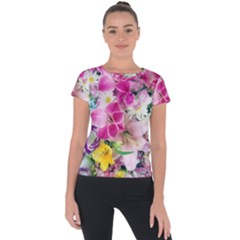 Colorful Flowers Patterns Short Sleeve Sports Top  by BangZart