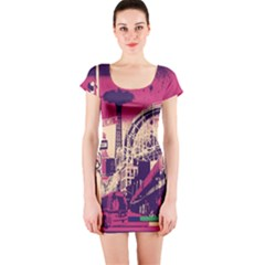 Pink City Retro Vintage Futurism Art Short Sleeve Bodycon Dress