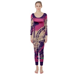 Pink City Retro Vintage Futurism Art Long Sleeve Catsuit by BangZart
