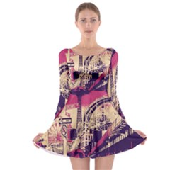 Pink City Retro Vintage Futurism Art Long Sleeve Skater Dress