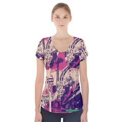 Pink City Retro Vintage Futurism Art Short Sleeve Front Detail Top