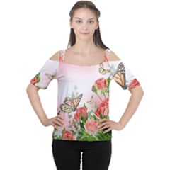 Flora Butterfly Roses Cutout Shoulder Tee
