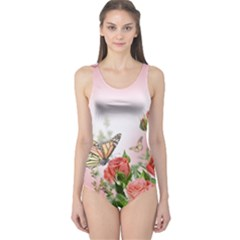 Flora Butterfly Roses One Piece Swimsuit
