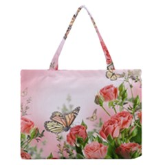 Flora Butterfly Roses Medium Zipper Tote Bag by BangZart