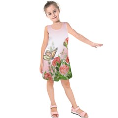 Flora Butterfly Roses Kids  Sleeveless Dress