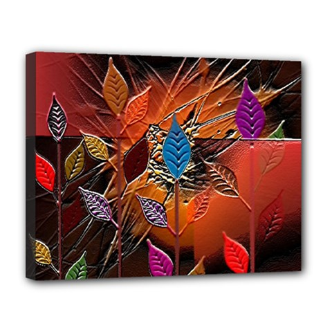 Colorful Leaves Canvas 14  X 11