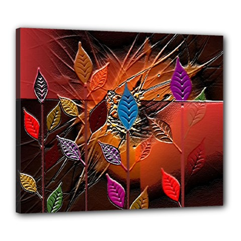 Colorful Leaves Canvas 24  X 20