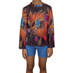 Colorful Leaves Kids  Long Sleeve Swimwear