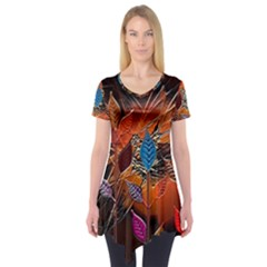 Colorful Leaves Short Sleeve Tunic