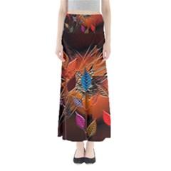 Colorful Leaves Full Length Maxi Skirt