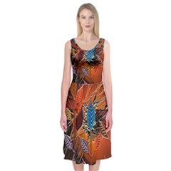 Colorful Leaves Midi Sleeveless Dress