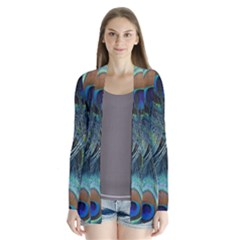 Feathers Art Peacock Sheets Patterns Drape Collar Cardigan