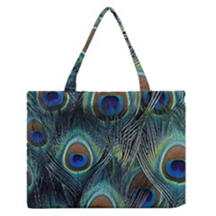Feathers Art Peacock Sheets Patterns Medium Zipper Tote Bag