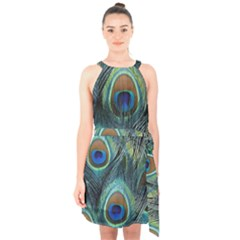 Feathers Art Peacock Sheets Patterns Halter Collar Waist Tie Chiffon Dress
