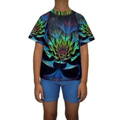 Fractal Flowers Abstract Petals Glitter Lights Art 3d Kids  Short Sleeve Swimwear