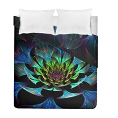 Fractal Flowers Abstract Petals Glitter Lights Art 3d Duvet Cover Double Side (full/ Double Size) by BangZart