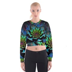 Fractal Flowers Abstract Petals Glitter Lights Art 3d Cropped Sweatshirt