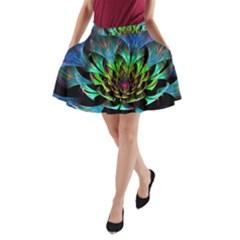 Fractal Flowers Abstract Petals Glitter Lights Art 3d A Line Pocket Skirt