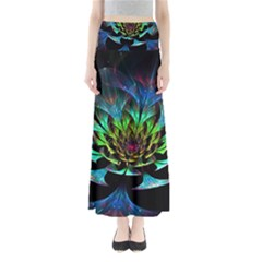 Fractal Flowers Abstract Petals Glitter Lights Art 3d Full Length Maxi Skirt