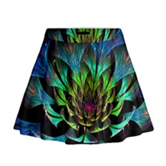 Fractal Flowers Abstract Petals Glitter Lights Art 3d Mini Flare Skirt