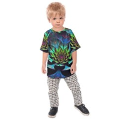 Fractal Flowers Abstract Petals Glitter Lights Art 3d Kids Raglan Tee
