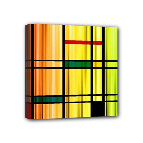 Line Rainbow Grid Abstract Mini Canvas 4  X 4