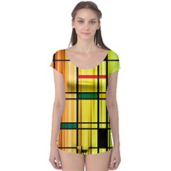 Line Rainbow Grid Abstract Boyleg Leotard