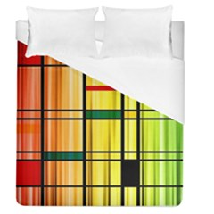 Line Rainbow Grid Abstract Duvet Cover (queen Size)