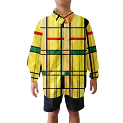 Line Rainbow Grid Abstract Wind Breaker (kids)