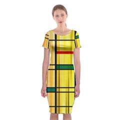 Line Rainbow Grid Abstract Classic Short Sleeve Midi Dress