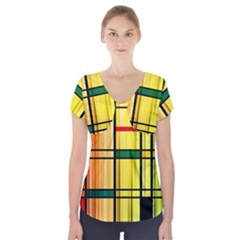 Line Rainbow Grid Abstract Short Sleeve Front Detail Top