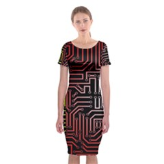 Circuit Board Seamless Patterns Set Classic Short Sleeve Midi Dress