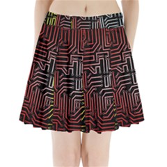 Circuit Board Seamless Patterns Set Pleated Mini Skirt