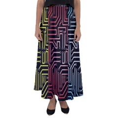 Circuit Board Seamless Patterns Set Flared Maxi Skirt
