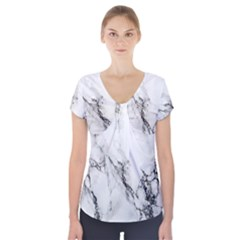 Marble Pattern Short Sleeve Front Detail Top