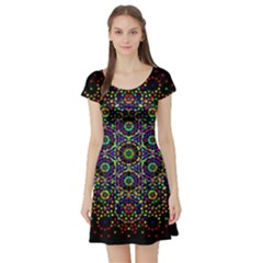 The Flower Of Life Short Sleeve Skater Dress by BangZart