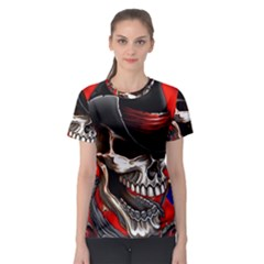 Confederate Flag Usa America United States Csa Civil War Rebel Dixie Military Poster Skull Women s Sport Mesh Tee