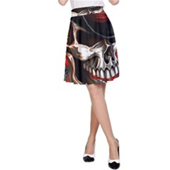 Confederate Flag Usa America United States Csa Civil War Rebel Dixie Military Poster Skull A Line Skirt