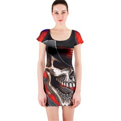 Confederate Flag Usa America United States Csa Civil War Rebel Dixie Military Poster Skull Short Sleeve Bodycon Dress by BangZart