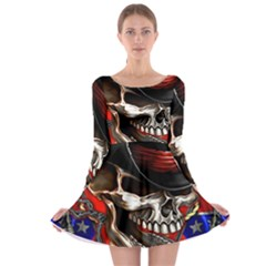 Confederate Flag Usa America United States Csa Civil War Rebel Dixie Military Poster Skull Long Sleeve Skater Dress