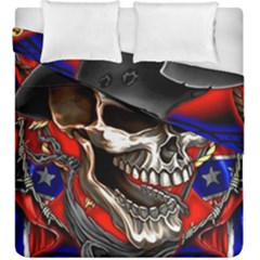 Confederate Flag Usa America United States Csa Civil War Rebel Dixie Military Poster Skull Duvet Cover Double Side (king Size) by BangZart