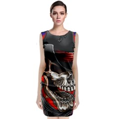 Confederate Flag Usa America United States Csa Civil War Rebel Dixie Military Poster Skull Classic Sleeveless Midi Dress