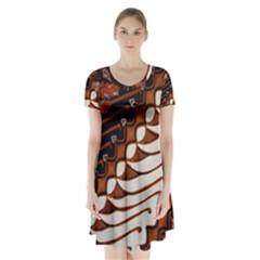 Traditional Batik Sarong Short Sleeve V Neck Flare Dress