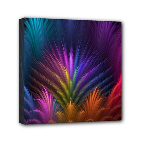 Colored Rays Symmetry Feather Art Mini Canvas 6  X 6