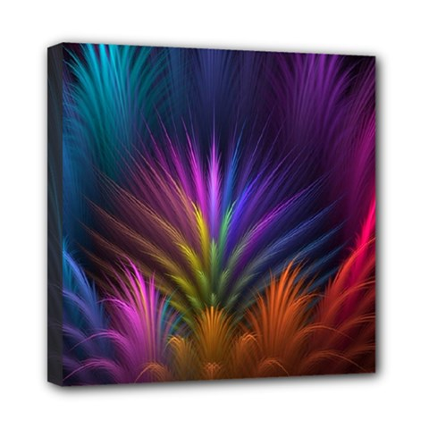 Colored Rays Symmetry Feather Art Mini Canvas 8  X 8