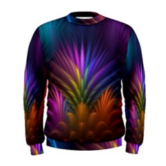Colored Rays Symmetry Feather Art Men s Sweatshirt