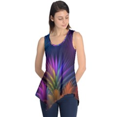 Colored Rays Symmetry Feather Art Sleeveless Tunic