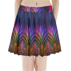 Colored Rays Symmetry Feather Art Pleated Mini Skirt