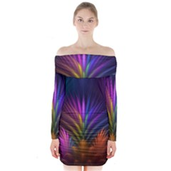 Colored Rays Symmetry Feather Art Long Sleeve Off Shoulder Dress