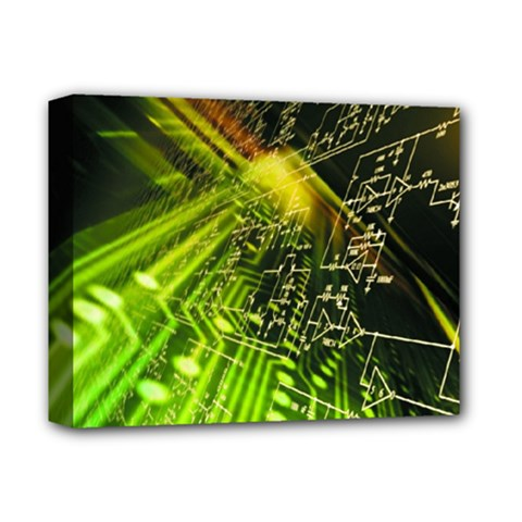 Electronics Machine Technology Circuit Electronic Computer Technics Detail Psychedelic Abstract Patt Deluxe Canvas 14  X 11  by BangZart